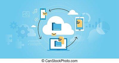 Business cloud computing - Flat line design website banner...