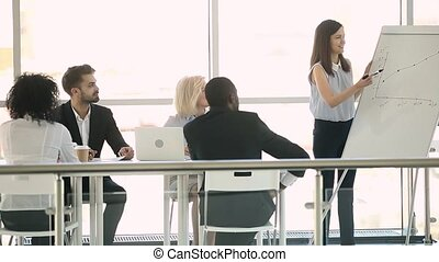 Business coach confident woman giving presentation to...