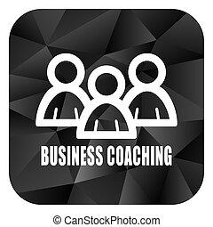 Business coaching black color web modern brillant design square internet icon on white background.