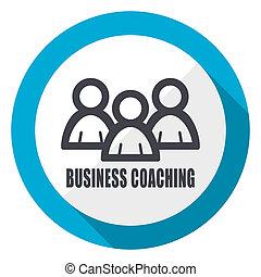 Business coaching blue flat design web icon
