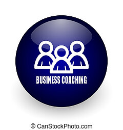 Business coaching blue glossy ball web icon on white background. Round 3d render button.