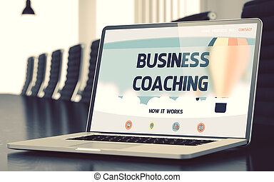 Business Coaching Concept on Laptop Screen. 3D.