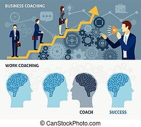 Business coaching horizontal flat banners set - Business...