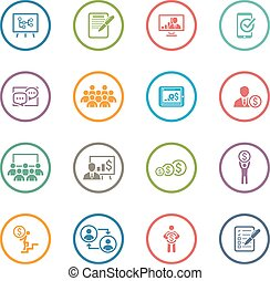 Business Coaching Icon Set. Online Learning. Flat Design....