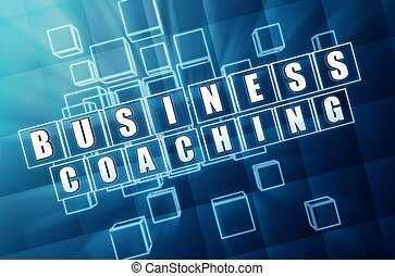 business coaching in blue glass cubes