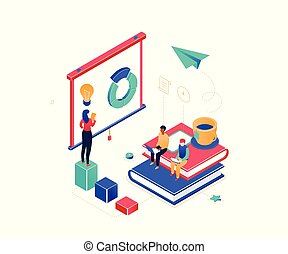 Business coaching - modern colorful isometric vector illustration