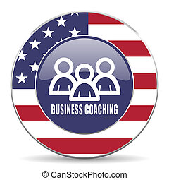 Business coaching usa design web american round internet icon with shadow on white background.