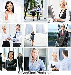 business, collage., ensemble, de, photos, sur, communication, et, bureau, workers.