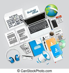 Business collage items art objects. Vector illustration