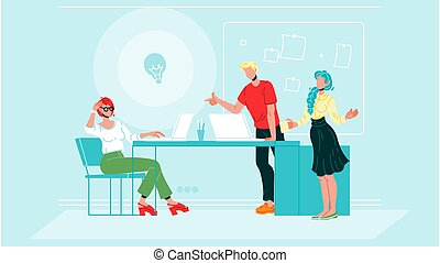 Business Colleagues Brainstorm At Office Vector Illustration