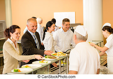 Cook serve meals business woman take lunch in cafeteria