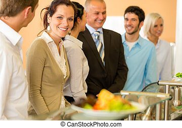 Business colleagues waiting for canteen lunch - Lunch break...