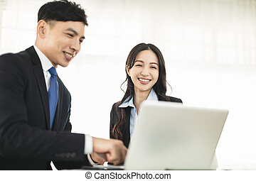 business colleagues working together  in modern office
