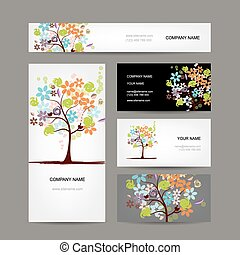 business, collection, arbre, cartes, conception, floral