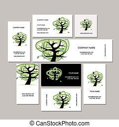 business, collection, arbre, conception, cartes, vert