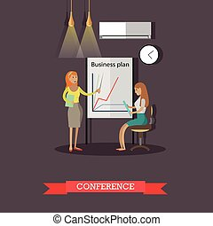 Business collection, conference concept vector illustration in flat style
