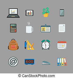Business collection of office supplies