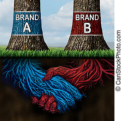 Business Collusion - Business collusion concept as two trees...