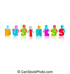 Business Colorful Title with Paper People