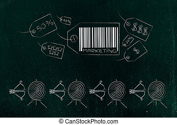 marketing price tag icons with line of targets and arrows ...