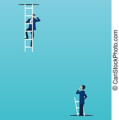 Vector of boss looking down from a top to a employee climbing up from under the floor