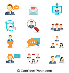 Business communication and web conference icons - Business...