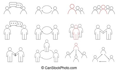 Business communication between people. Exchange, sale, trade. Leader and subordinates. Isolated icons set.
