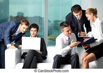 Business communication - Five business people communicating ...