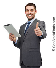 smiling buisnessman with tablet pc computer
