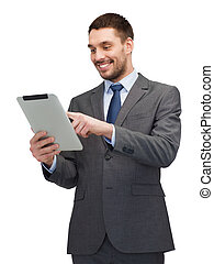 smiling buisnessman with tablet pc computer - business,...