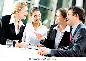 Business communication - Portrait of four white collar...