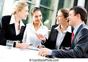 Business communication - Portrait of four white collar...