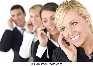 Business Communications - A businesswoman and her three ...