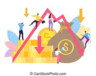 Business company diagram depression, vector illustration. Market businessman people at down graph, economy crash bankruptcy.