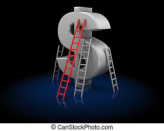 business competition - 3d illustration of dollar and...