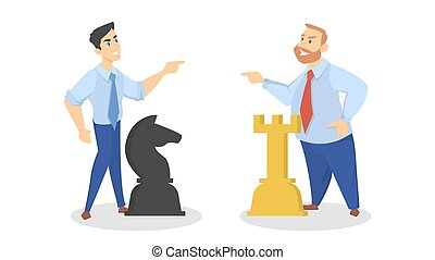 Business competition concept. Businessmen play chess together