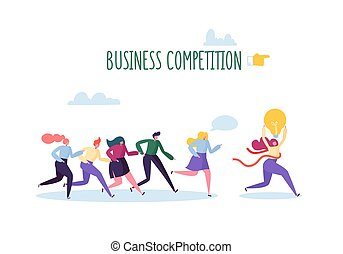 Business Competition Concept. Flat People Characters Running with Leader Crossing Finish Line with Light Bulb. Vector illustration