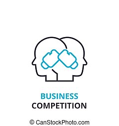 Business competition concept , outline icon, linear sign, thin line pictogram, logo, flat vector, illustration