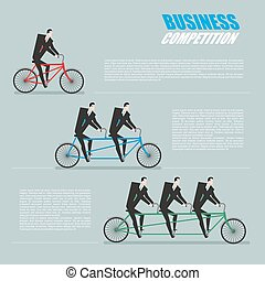 Business competition. Managers on bike. Business team goes...