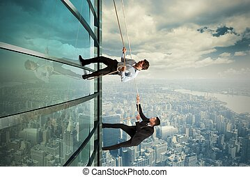 Business competition - Concept of competition with climbing...