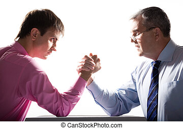 Business competition - Portrait of two businessmen fighting...