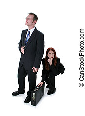 Business Competition - Beautiful Business Woman Stealing...