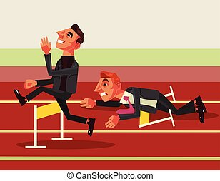 Business competition. Vector flat cartoon illustration