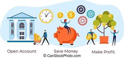 business, compte, concept., graphique, investissement, conception, vecteur, plat, caisse épargne, illustration