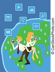 business computer and networking on the world, cartoon vector