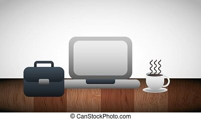 business computer briefcase and coffee cup on table...
