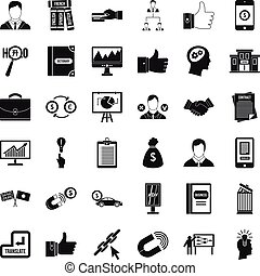 Business computer icons set, simple style