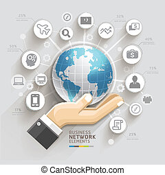 Business computer network. Business hand with global template. Can be used for workflow layout, banner, diagram, web design, infographic template.