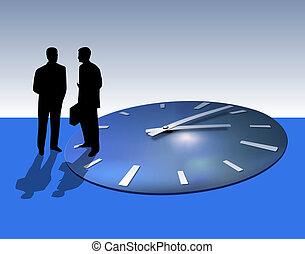 Two businessmen talking. Time flies away.