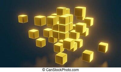 3D gold block cubes on dark background. 3D rendering